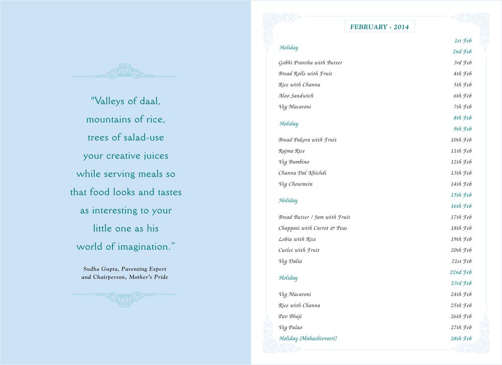 Menu Card, February, 2014