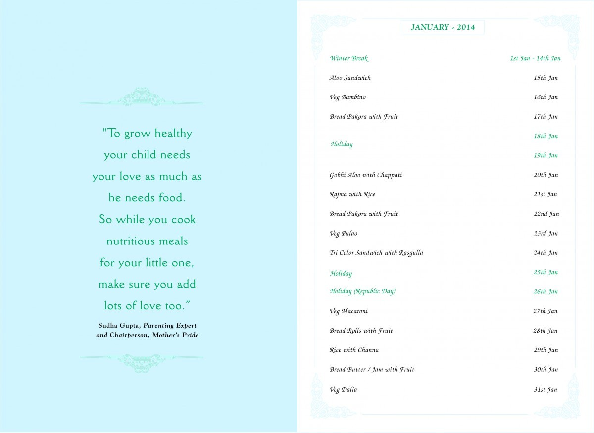 Menu Card, January, 2014