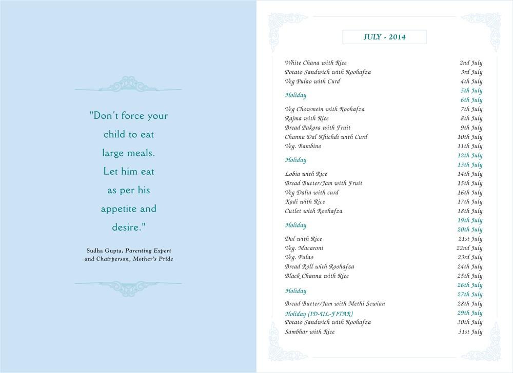 Menu Card, May, 2014