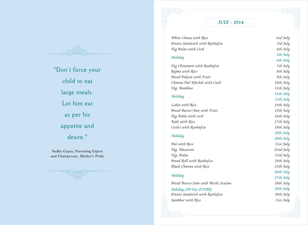 Menu Card, May, 2014