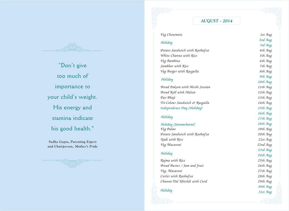 Menu Card, August, 2014