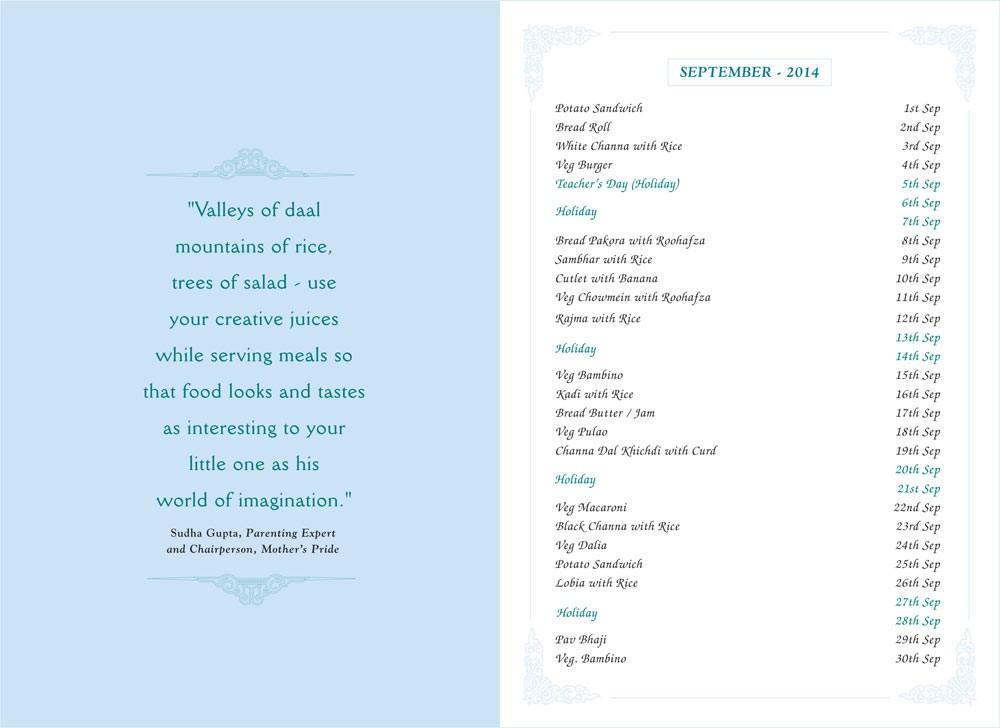 Menu Card, September, 2014