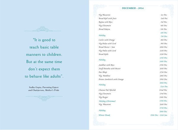 Menu Card, december, 2014