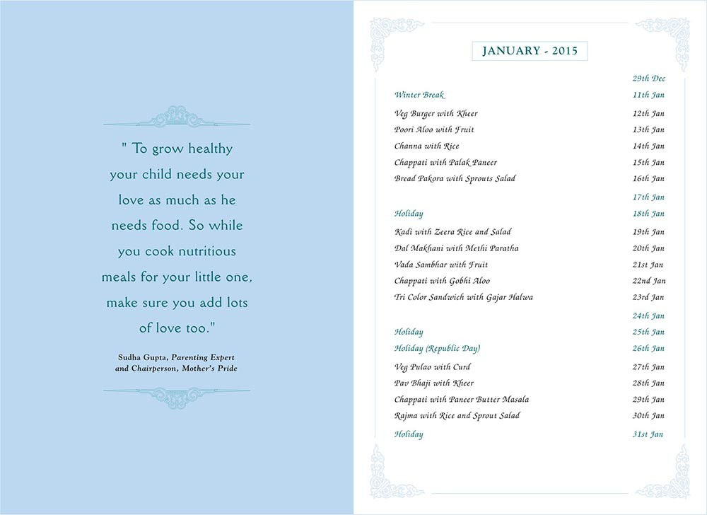 Menu Card, January, 2015