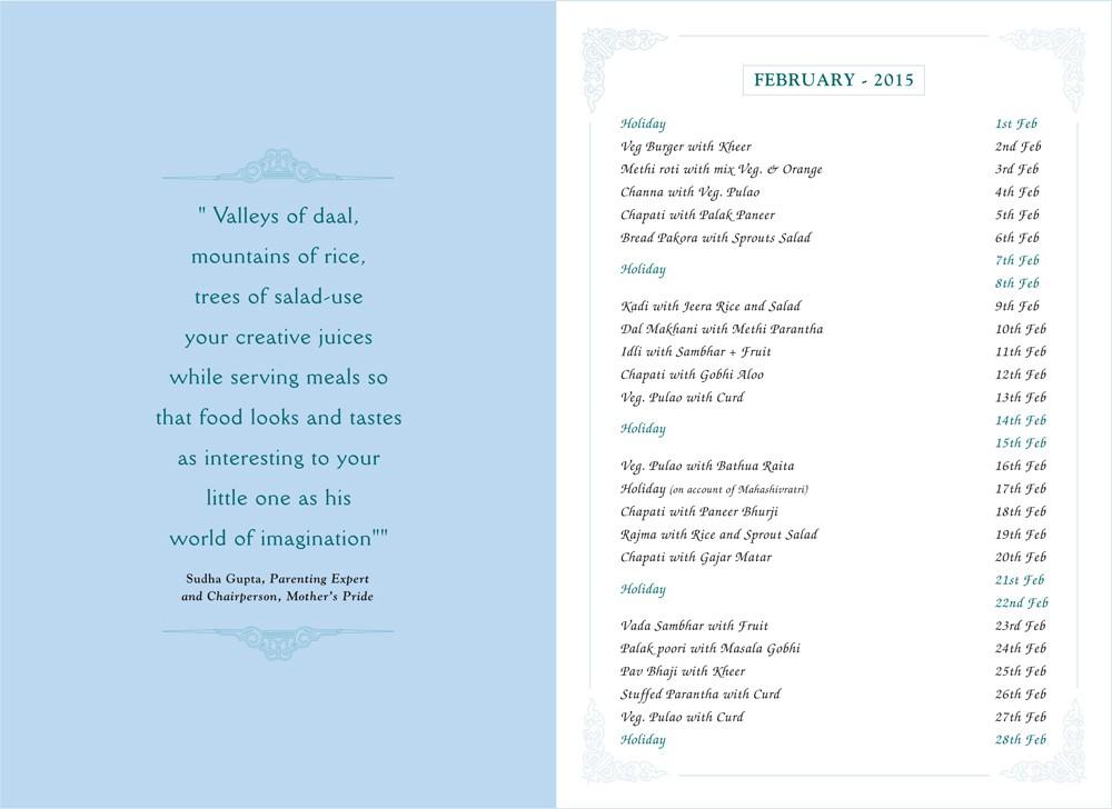 Menu Card, January, 2015