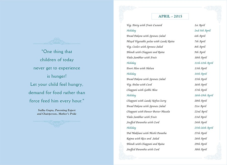 Menu Card, April, 2015