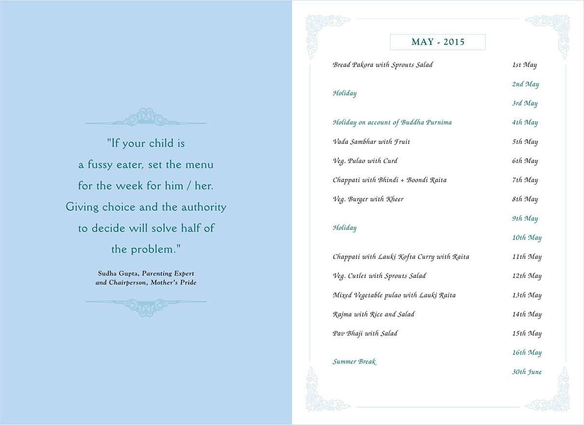 Menu Card, May, 2015