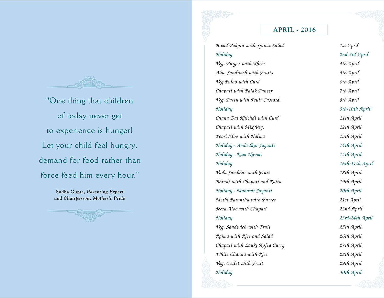 Menu Card, April, 2016
