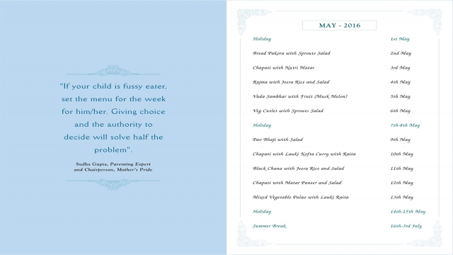 Menu Card, May, 2016